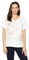 Alfred Dunner Women's Floral Embroidered, Split Collar, S/S
