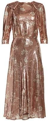 Johanna Ortiz Metallic Floral Midi Dress