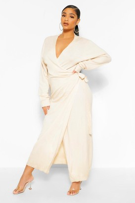 boohoo Plus Knitted Wrap Tie Waist Midi Dress