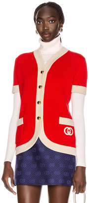 Gucci Short Sleeve Cardigan in Red & Ivory | FWRD