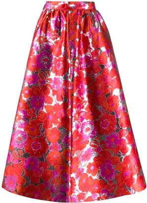 MSGM Floral Full Skirt