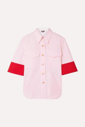 Calvin Klein Two-tone Wool-twill Trimmed Cotton-poplin Shirt - Baby pink