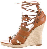 Michael Kors Leather Cutout Wedge Sandals