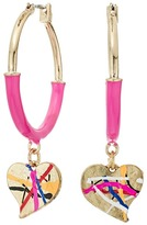 Betsey Johnson Pink and Gold Heart Hoop Earrings Earring
