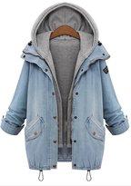LKOMARKET Large size ladies jean jacket Loose thin dust coat ma3 jia3 two-piece