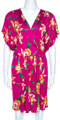 Christian Dior Fuschia Floral Printed Silk Mini Dress L