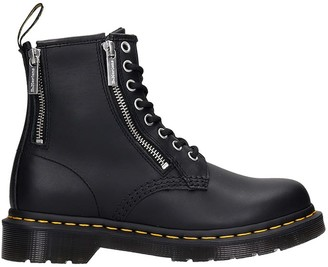 Dr. Martens 1460 Zip Combat Boots In Black Leather