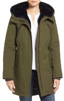 Vince Camuto Women's Cotton Canvas Anorak With Faux Fur Trim Hood