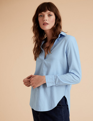 Marks and Spencer Pure Cotton Collared Popover Blouse