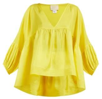 Anaak - Airi Gathered Silk Satin Blouse - Womens - Yellow