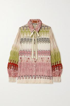 Missoni Pussy-bow Metallic Crochet-knit Shirt