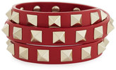 Valentino Triple-Wrap Leather Bracelet, Red