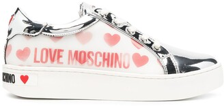 Love Moschino Logo-Print Leather Trainers