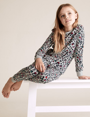 Marks and Spencer 2pk Leopard Heart Print Pyjama Sets (6-16 Yrs)
