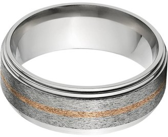 Online 8mm Raised Center Titanium Ring with a 1mm Copper Inlay with a Stone Finish