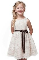 Shop Ginger Wedding Ivory Flower Girl Dress Lace Bow Sash Children Communion D6 140 (7-8Y, )