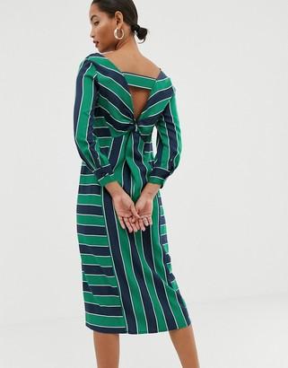 Asos knot back stripe midi dress-Multi
