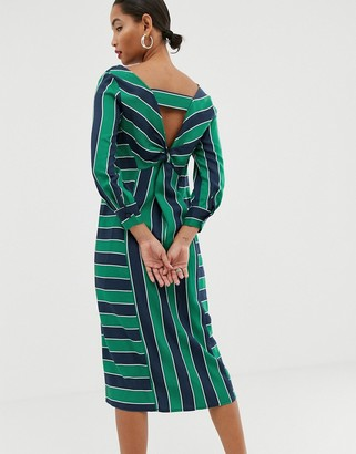 ASOS knot back stripe midi dress