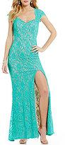 Jodi Kristopher Sweetheart-Neck Cap-Sleeve Long Glitter Lace Dress