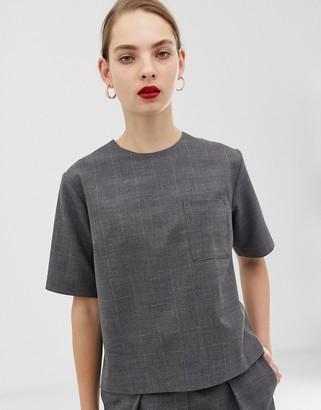 Asos woven check co-ord t-shirt-Green