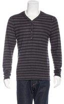 John Varvatos Cashmere Striped Henley Sweater