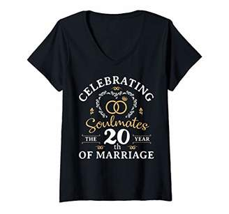 Womens 20 years of Marriage 20th Wedding Anniversary Gift V-Neck T-Shirt