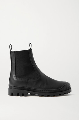 Loewe Rubber-trimmed Leather Chelsea Boots - Black
