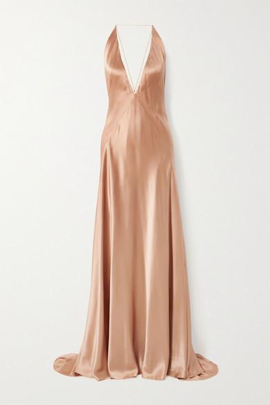 Michael Lo Sordo Alexandra Open-back Silk-satin Gown - Copper