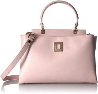 Luana Italy Women's Double Zipper Compartment Satchel Rose Smoke Leather Handbag