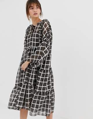 GHOSPELL volume smock dress in organza check-Black