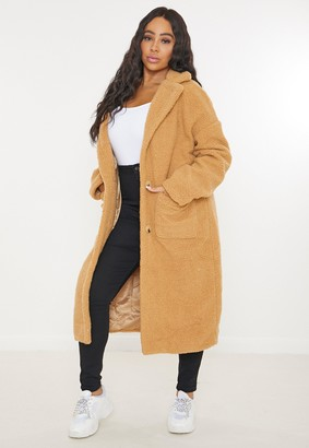 Missguided Plus Size Tan Oversized Long Borg Coat