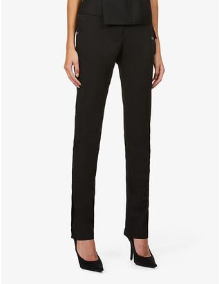 Off-White Basic branded slim-leg high-rise woven trousers