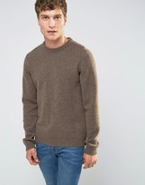 Asos Lambswool Rich Crew Neck Sweater in Light Brown