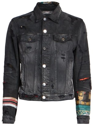 Amiri Patch Scarves Denim Trucker Jacket