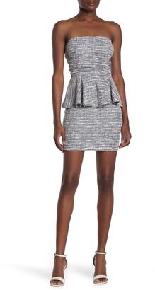Love...Ady Tweed Strapless Peplum Mini Dress