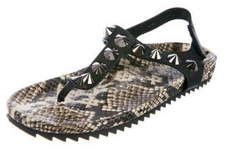 Pedro Garcia Embossed Leather T-Strap Sandals Black