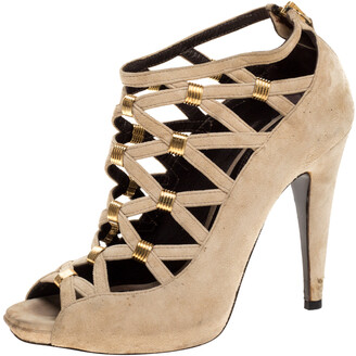 Roberto Cavalli Beige Suede Cage Ankle Boots Size 35.5