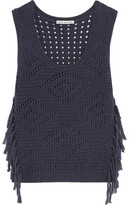 Autumn Cashmere Fringed Open-Knit Cotton Top