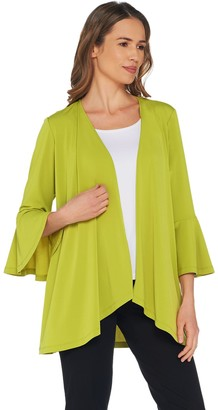Susan Graver Every Day by Liquid Knit Cardigan with Bell Sleeves