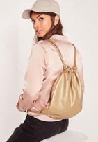 Missguided Faux Leather Metallic Drawstring Backpack Gold