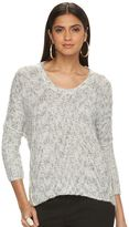 JLO by Jennifer Lopez Women's Marled Crewneck Sweater