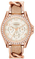 Fossil Ladies Whit and Whimsy Riley Rose Goldtone Leather Strap Watch