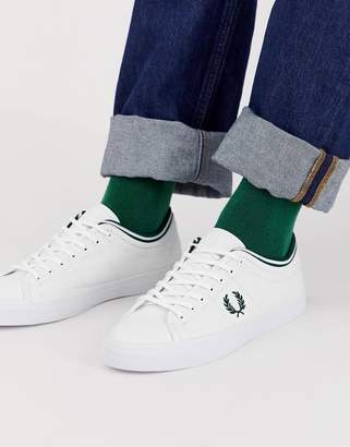 Fred Perry Kendrick tipped cuff canvas sneakers in white