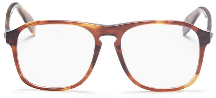 Alexander McQueen Stud tortoiseshell acetate square optical glasses