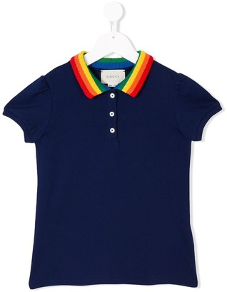 Gucci Kids embroidered butterfly polo shirt