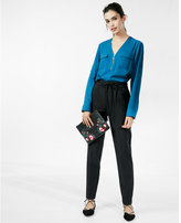 Express long sleeve zip front blouse
