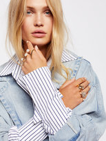 Free People White Knuckle Pearl Ring Set
