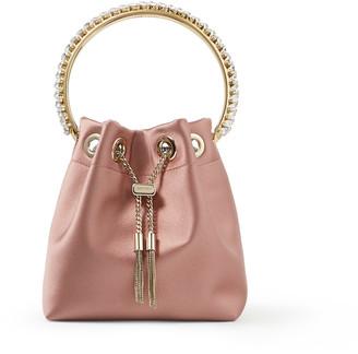 Jimmy Choo BON BON Blush Satin Bag with Crystal-Embellished Metal Handle
