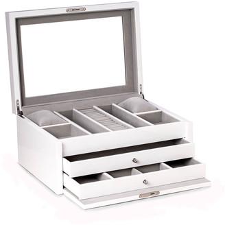 Bey-Berk Men's Lacquered Multi-Compartment Jewelry Case