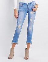 Charlotte Russe Frayed Hem Destroyed Skinny Jeans